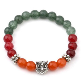 Wholesale tibetan owl charms - Colorful Bracelets For Women Tibetan Silver Owl Beaded Bracelets Charms Bangles Vintgae India Bead Jewelry Hot Sell Bangle