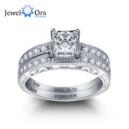 Wholesale Silver Wedding Ring Bridal Sets - Personalized Engrave Ring Bridal Sets Heart-Shaped Lace 925 Sterling Silver Women Rings For Wedding ( RI101898) 17401