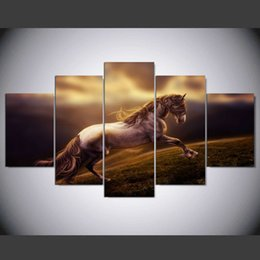 Wholesale Horse Art Canvas Set - 5 Pcs set Horse animal oil Paintings Canvas art Print home decoration Picture Modern Wall art Poster unframed