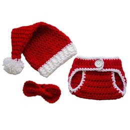Wholesale Toddler Crochet Santa Hat - Baby Santa Outfit,Handmade Crochet Baby Boy Girl Christmas Santa Hat Diaper Cover Bow Tie Set,Infant Toddler Christmas Costume Photo Prop