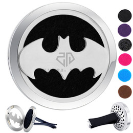 Wholesale Design Magnet - Round Silver Batman Design (38mm) Magnet Diffuser Car aromatherapy Locket Free Pads Essential Oil 316 Stainless Steel Car Diffuser Lockets