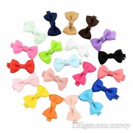Wholesale Girls Small Hair Bows - Baby Bow Hairpins Small Mini Grosgrain Ribbon Bows Hairgrips Girls Bowknot Hair Clips Kids Hair Accessories 20 Colors KFJ126