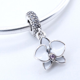 Wholesale orchid pendant - 925 sterling silver jewelry White Orchid Pendant Charm beads fit pandora charms bracelet & bangle for woman jewelry finding 2017 summer