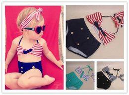 Wholesale Wholesale Toddler Bathing Suits - Cute baby little girls rain bow Fringe string Bikini swimsuit bathing suit for kid high waist toddler Swimwear Biquini infantils