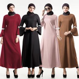 Wholesale Wholesale Islamic Dresses - muslim women pink lace patched hemp dress  hxzhg pirnted hemp islamic women dress  fancy abaya dress