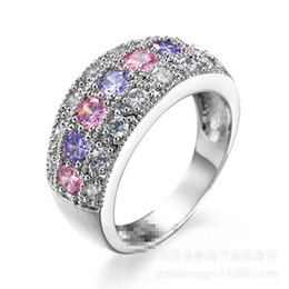 Wholesale Pink Cz Stone - Size 6-10 White Gold Plated Clear Pink Lilac CZ Wedding Gift Lover Finger Ring
