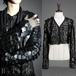 Wholesale Pu Leather Blazer For Men - Wholesale- 2016 new spring punk style Nightclub stage costumes PU leather scales Suit men black Casual slim scales Blazers for men M-XL