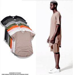 Wholesale Tshirt Logos Wholesale - FBA Custom Logo Drop Shipping Fashion men extended t shirt longline hip hop tee shirts women justin clothes harajuku rock tshirt homme