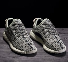 Wholesale Real Size Women - Factory Quality 350 Boost Sneakers Turtle Dove AQ4832 Size 4-13 Double Box Kanye West Real Boost Wide Bottom Women Men Running Shoes