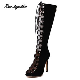 Wholesale Wedding Heels Boot Style - Wholesale-New summer women high boots fashion peep toe high heels shoes woman rome style party wedding with platforms ladies pumps