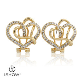 Wholesale Forever Crystals Jewelry - Shinning Crystal Stud Earrings Love Forever Women Jewelry White Bohemian Women Wedding heart Earring Jewelry Stud Earrings