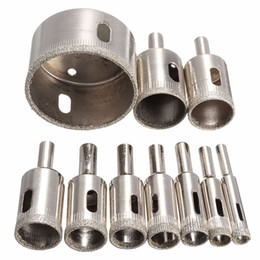 Wholesale Drill Bits For Granite - 10PCS set 8-50mm Diamond Coated Core Hole Saw Drill Bits Tool Cutter For Tiles Marble Glass Granite Best Price