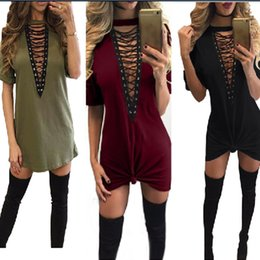 Wholesale Wholesale Clothing For Plus Sizes - 10pcs Hot Selling Dresses for Women Clothes Fashion 2017 Short Sleeve Sexy Criss Cross Neck Casual Loose T-Shirt Plus Size Dress S-3XLCK1099