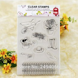 Wholesale Accounting Tools - Wholesale- Garden Tool Cart Kettle Fence Vase Scrapbook DIY photo cards account rubber stamp clear stamp transparent stamp 11x16cm K6110241
