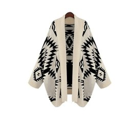 Wholesale Women Oversized Batwing Cardigan Sweaters - Wholesale-Poncho style Knitted Sweaters 2016 Autumn Winter Pattern Batwing Sleeve Women Knit Long Shawl Cardigan Sweaters Oversized Coat