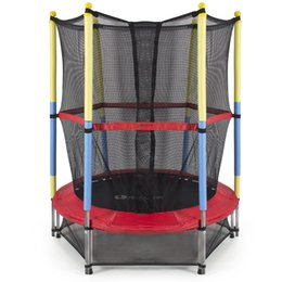 Wholesale 55 quot Round Kids Mini Trampoline with Enclosure Net Pad Rebounder Outdoor
