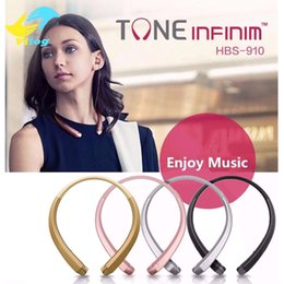 Wholesale Chip Gold - hbs910 Bluetooth Headphones Headset Earphone Sports High Quality 4.1 CSR Chip best quality With Package for iphone 7 plus s8 edge HBS 910