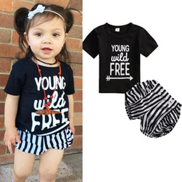 Wholesale t shirts for little girls - Fashion Baby Girls Clothes Sets Children 2017 Summer Short Sleeve T shirt Tops+ Stripe Shorts 2Pcs Suit infant sports Outfit For Little Girl
