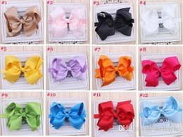 Wholesale Silk Hair Bows For Girls - New Baby Infant Butterflies headband Girls Boutique Bow New Comer Hairband Headband Hair accessory 16 color for choose Photo Prop 2pcs L137