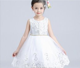 Wholesale Korean Children Wedding Clothes - girls' south Korean style white bubble dress dance consume stage compere clothes wedding flower children princess skirt 100% cotton inner