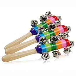 Wholesale Toy Drums Wholesale - New Hot Baby Rattle Rainbow Toy kid Pram Crib Handle Wooden Activity Bell Stick Shaker Rattle Baby Gift