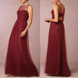 Wholesale Trumpet Line Wedding Dresses - 2017 Burgundy A-line Bridesmaid Dresses Cheap Lace Backless Maid of the Honor Dress with Buttons Wedding Guest Gowns