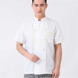 Wholesale Overalls Male Female - Wholesale- Latest Overalls Tops Jacket Kitchen Hotel Overalls Labor insurance clothing With short sleeves Male or female High quality BN632