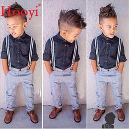 Wholesale Boys Braces Outfit - Hooyi Fashion Baby Boys Clothes Suits Children Handsome 2-Pieces Set Kids Black Shirt + Braces Trouser Outfits Boys' Romper Pant