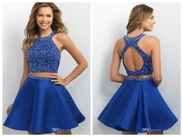 Wholesale Two Part Short Dress - Luxury Prom Dresses 2017 New High-Necked Crystal Beads Shiny Two-Part Prom Dress Classmates Party Gowns Elegant Evening Dress Plus Size