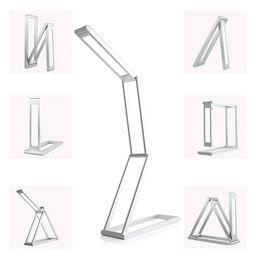 UK usb desk led - Flexible Geometric Shape Portable Foldable USB Rechargeable led desk Lamp Transformers Dimmable Aluminum Alloy Lamp for Reading as a gift
