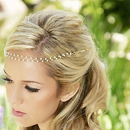 Wholesale Boho Head Chain - Women Imitation Pearl Tiara Boho Chic Bridal Head Chain Accessories Hair Jewelry Hairpin Hairband For Wedding Photo Party A00433