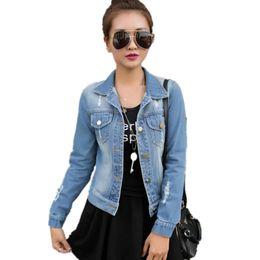 jeans desgastado para mulheres Desconto Atacado- S-XL Outono manga comprida Mulheres Denim Jacket Frayed Jeans Jacket Mulheres Oversized Jean Brasão plus size mulheres Outwear nova moda