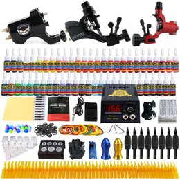 Wholesale Needles Rotary Gun - Solong Tattoo® Complete Tattoo Kit 3 Pro Rotary Tattoo Machine Guns 54 Inks Power Supply Foot Pedal Needles Grips Tips TK355