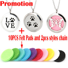 """Wholesale Pad Pendant - Cute Premium Aromatherapy Essential Oil Diffuser Necklace Locket Pendant, 316L Stainless Steel Jewelry with 24"""" Chain and 10 Washable Pads"""