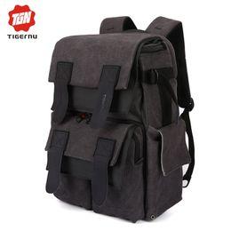 "Wholesale Girls Camera Phone - Wholesale- Tigernu Canvas women vintage waterproof girls backpack Camera Bag Digital SLR laptop bag 15.6"" for men school backpack"