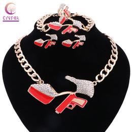 Wholesale Acrylic Bracelets Hip Hop - High-heeled Shoes 2017 Hip Hop Golden Statement Red Enamel Crystal Pistol Pendant Party Gift Necklace Bracelet Earring Ring