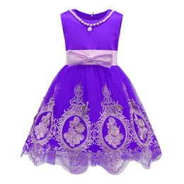 Wholesale Wholesale Evening Dresses Color Blue - Ball Gown for Girls Floral Embroidered Pearl Decoration Knee Length Formal Baby Girls Cotton Evening Dress