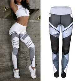 Wholesale Sexy Sports Pants - Geometric Pattern Yoga Pants Women Fitness Trousers Leggings Breathable Running Sexy Tights Sport Gym Leggins Athletic Workout Sportswear