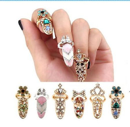 Wholesale Wholesale Gold Crown Charms - Fashion Rhinestone Cute Bowknot Finger Nail Ring Charm Crown Flower Crystal Female Personality Nail Art Rings Resizable Knuckle Party Ring