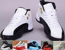 Botas francesas online-Barato de calidad superior 12s Hombre Zapatos de baloncesto Hombre Mujer 12 TAXI Juego de la gripe Francés Azul Gamma azul Playoff zapatillas de deporte botas 11 34 47