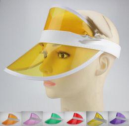 Wholesale black fancy dress - Neon rave sun shade retro party cap plastic visor sun hat rave festival fancy dress poker headband