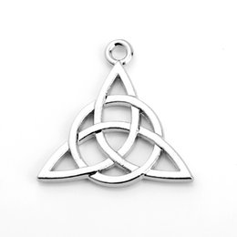 Wholesale Triangle Shaped Necklace - Newest Design Triangle Hollow Shape Charm Silver Plated Pendant Charm Fit For Necklace&Bracelet Making Jewelry