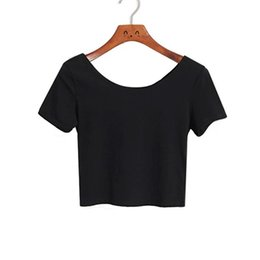 Wholesale Basic Tee Crop Top - Wholesale- [Clearance] Summmer Women Short T-shirts,U neck Navel-baring Sleeve Tee Shirt Crop Top,Basic Stretch Tops T Shirt Femme