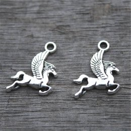 Wholesale Fly Charm - 30pcs--Pegasus Charms, Antique Tibetan Silver Lovely Flying Horse Charm Pendant 17x15mm