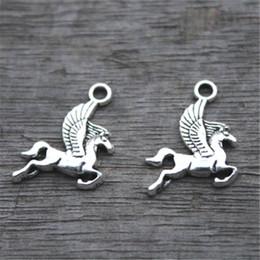 Wholesale Wholesale Horse Charm - 30pcs--Pegasus Charms, Antique Tibetan Silver Lovely Flying Horse Charm Pendant 17x15mm