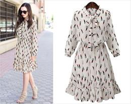 Wholesale Elastic Puff Long Sleeve - 2017 Spring Women Plus Size Long Sleeve Falbala Casual Dresses Elastic Waist Chiffon Show Thin A-Line Knee-Length Dresses 04003