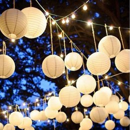 Wholesale chinese paper lanterns wedding - 16 inch(40cm) Chinese Round White Paper Lanterns lamps for Wedding Party Home Decoration oliday party supplies