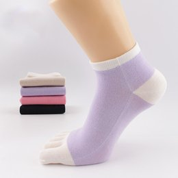 Wholesale Wicking Running Socks - Women's Five Fingers Toe Socks Low Cut Running Wicking Women's Soft Comfortable No-show Silk Five Toe Crew Sock