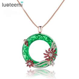 Wholesale Green Roses Big - LUOTEEMI New Design Korea Style Romantic Big Round Green CZ Pendant with Mirco Flower Zircon Jewelry Rose&White Gold-Color
