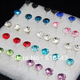 Wholesale big top promotions - Big Promotions 160pcs Wholesale Fashion Jewelry Mix Color Top 4mm CZ Rhinestones Womens Mens Charms Stud Earrings A-2003
